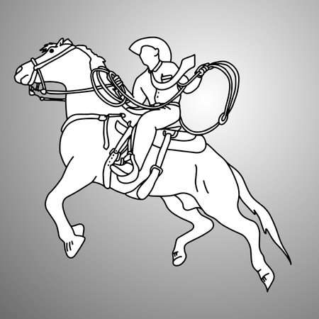 businessman on bucking horse running with lasso vector illustration doodle sketch hand drawn with black lines isolated on gray background. Business concept.  Illustration