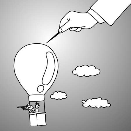 leader bully his worker by using needle on his balloon vector illustration doodle sketch hand drawn with black lines isolated on gray background. metaphor business concept.