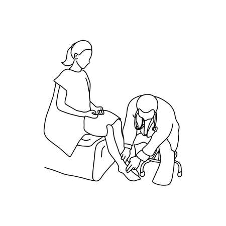 Doctor examining foot muscle of female patient with hand. Outline sketch, hand drawn with black lines on white background. Illustration