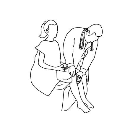 Neurologist using small hammer to test right knee reflex on female patient. Vector illustration outline sketch, hand drawn with black lines on white background.