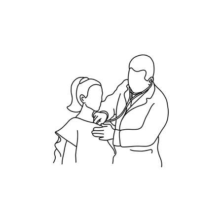 Doctor examining chest of a patient with stethoscope. Outline sketch, hand drawn with black lines on white background. Ilustracja