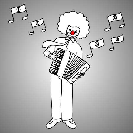 Businessman musician with joker face playing piano accordion illustration. Doodle sketch with black lines on gray background. Business concept. Finding money with happiness. Illustration