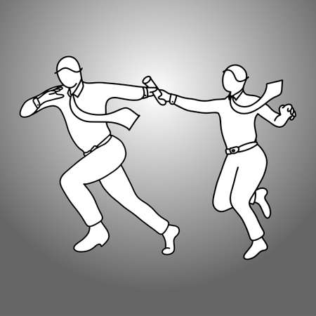 Business people passing relay baton illustration. Doodle sketch with black lines on gray background. Teamwork business concept.