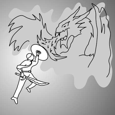 Man fighting a dragon illustration. Illusztráció