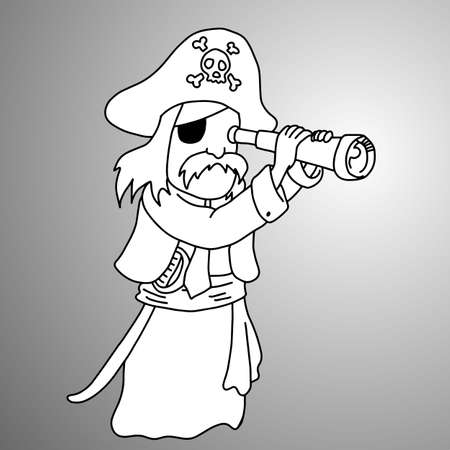 Man in pirate uniform illustration. 일러스트