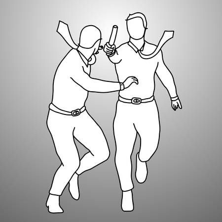 Twee mannen die het pictogram van het relaisspel spelen.