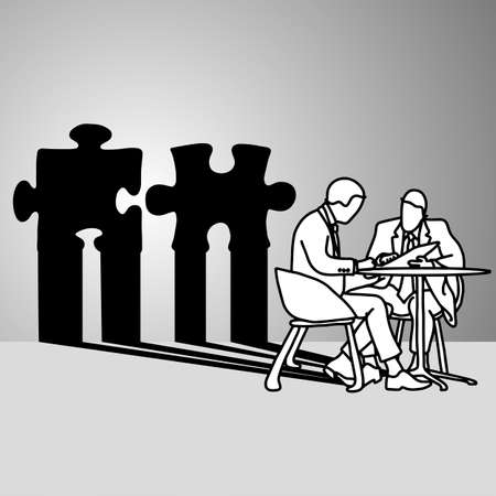 businessman sitting with the shadow of conflict jigsaw puzzle vector illustration doodle sketch hand drawn with black lines isolated on gray background. Business disagreement thought concept. Illustration