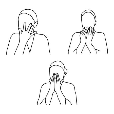 Set of woman face massage vector illustration outline sketch hand drawn with black lines isolated on white background.