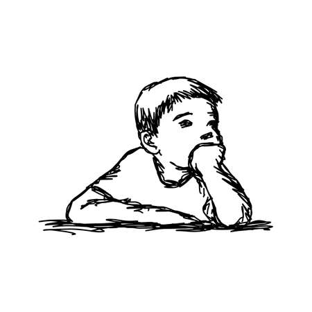 Boy thinking with resting chin outline sketch
