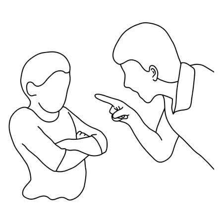Dad scolding his son outline sketch