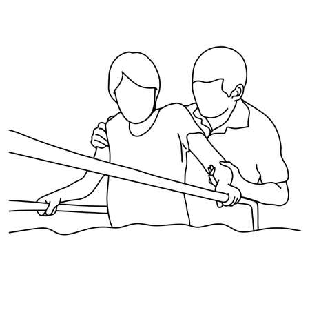 Male physical therapist assisting woman Illustration