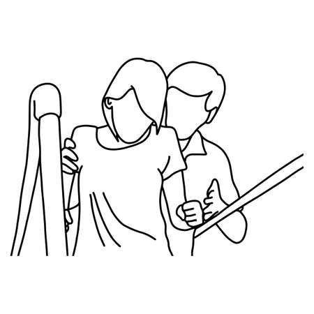 male physical therapist assisting disable woman to walk with the support of bars at hospital vector illustration outline sketch hand drawn with black lines isolated on white background