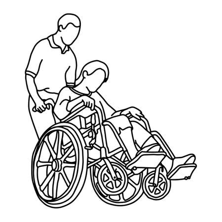 Young male caregiver walking with woman in wheelchair vector illustration outline sketch hand drawn with black lines isolated on white background