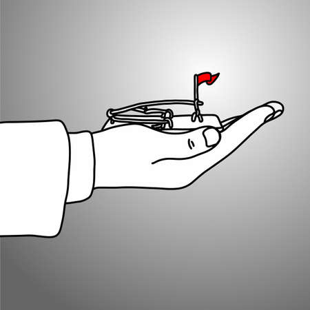 Hand of businessman holding rat trap with red flag vector illustration doodle sketch hand drawn with black lines isolated on gray background. Bad trick business concept.