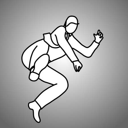businessman jumping to kick vector illustration doodle sketch hand drawn with black lines isolated on gray background. business concept.