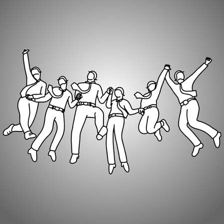 group of businessman jumping with gladness vector illustration doodle sketch hand drawn with black lines isolated on gray background. Success teamwork business concept.
