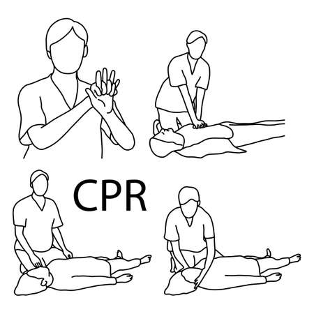 CPR demonstration first aid vector illustration sketch hand drawn with black lines, isolated on white background Çizim
