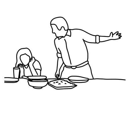 A husband and wife in quarrel in kitchen before having meal vector illustration sketch hand drawn with black lines, isolated on white background Illustration