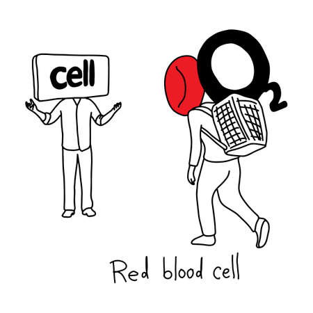 metaphor function of red blood cell to transport oxygen to body cells vector illustration sketch hand drawn with black lines, isolated on white background. Education Medical concept.