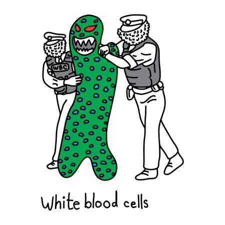 metaphor function of white blood cell to protect the body against both infectious disease and foreign invaders vector illustration sketch hand drawn with black lines, isolated on white background. Education Medical concept.
