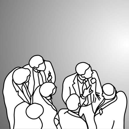 Group of businessmen looking at something on the right vector illustration doodle sketch hand drawn with black lines isolated on gray background. Business concept. Illustration