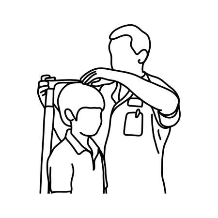 male doctor measuring the current height of his young male patient with equipment vector illustration sketch hand drawn with black lines, isolated on white background