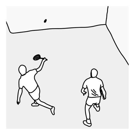 top view man serving the ball in the squash court vector illustration sketch hand drawn with black lines, isolated on white background