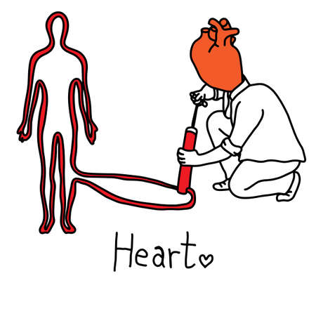 metaphor main function of human heart is to propel blood throughout the body vector illustration sketch hand drawn with black lines, isolated on white background. Education Medical concept.