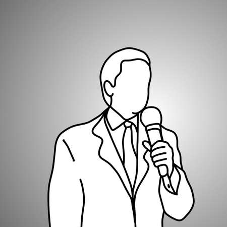 businessman hoding microphone on his left hand vector illustration doodle sketch hand drawn with black lines isolated on gray background. Business concept.  Illustration