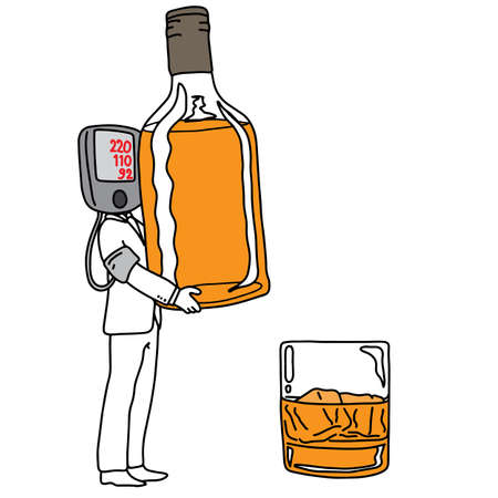 metaphor cause of high blood pressure or hypertension is drinking alcohol vector illustration sketch hand drawn with black lines, isolated on white background. Education Medical concept.