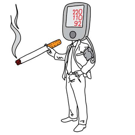 metáfora causa da hipertensão arterial ou hipertensão é fumar ilustração vetorial esboço mão desenhada com linhas pretas, isoladas no fundo branco. Conceito de educação médica.