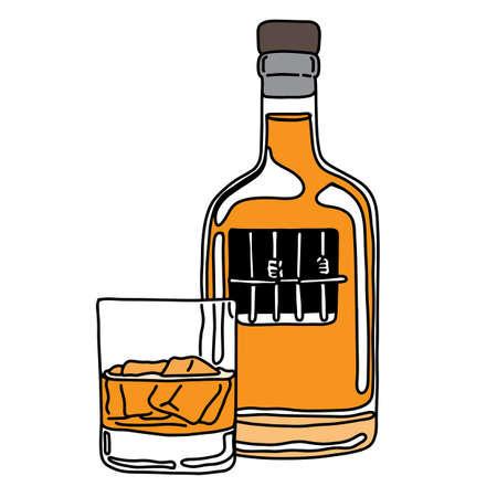 Metaphor alcoholic person in the jail of liquor bottle with glass vector illustration sketch hand drawn with black lines, isolated on white background. Education Medical concept. Illustration
