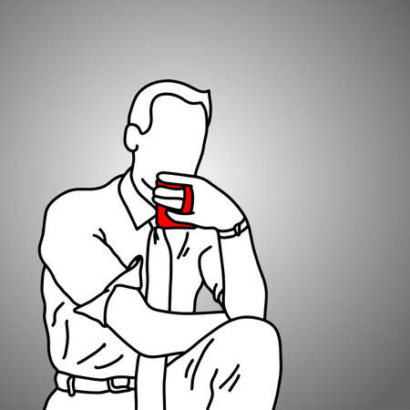 businessman drinking coffee after work vector illustration doodle sketch hand drawn with black lines isolated on gray background. Business concept.