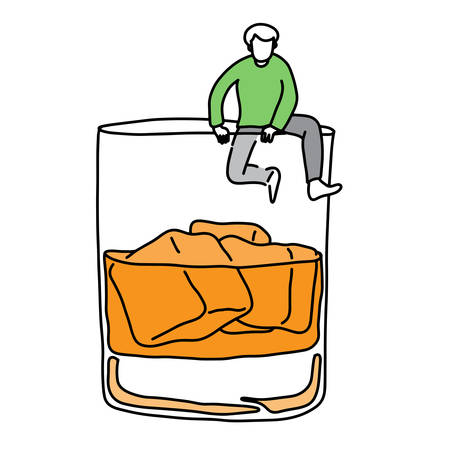 metaphor addicted man trying climb out off a glass of alcohol vector illustration sketch hand drawn with black lines, isolated on white background. Education Medical concept. Illustration