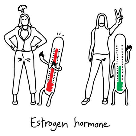 metaphor Estrogen hormone affects the mood swings of women vector illustration sketch hand drawn with black lines, isolated on white background. Education Medical concept.