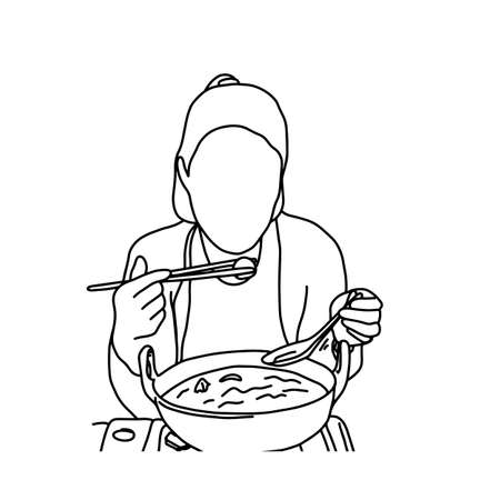 Cute woman eating noodles with chopsticks vector illustration sketch hand drawn with black lines, isolated on white background Illustration