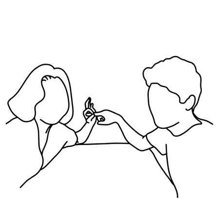 lover with sign of having vector illustration sketch hand drawn with black lines, isolated on white background