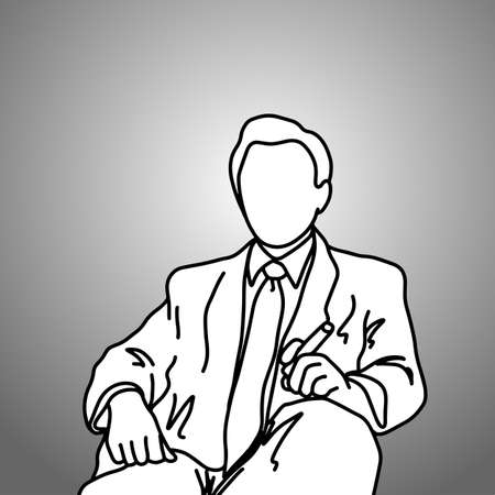 sitting businessman with cigar on his left hand vector illustration doodle sketch hand drawn with black lines isolated on gray background. Business concept.