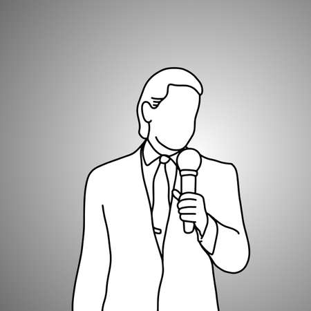 standing businessman with microphone on his left hand vector illustration doodle sketch hand drawn with black lines isolated on gray background. Business concept.
