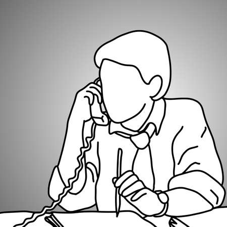 serious businessman using desk telephone with a pencil on his left hand vector illustration doodle sketch hand drawn with black lines isolated on gray background. Business concept.