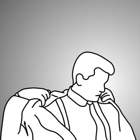 Businessman taking off his suit vector illustration doodle sketch hand drawn with black lines isolated on gray background. Business concept.