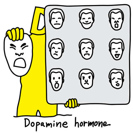 Metaphor function of Dopamine hormone is to control behavior of human being vector illustration sketch hand drawn with black lines, isolated on white background. Education Medical concept.