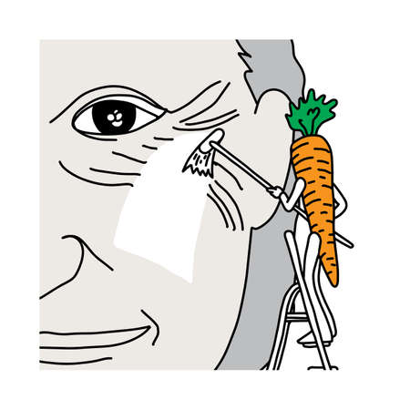 Illustrated carrot wiping old man's face wrinkle.