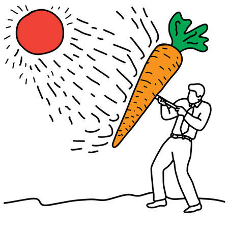 metaphor benefit of carrot is to help protect the skin against radical damage caused from sun exposure vector illustration sketch hand drawn with black lines, isolated on white background. Education Medical concept.