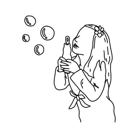 Cute girl blowing bubbles vector illustration sketch hand drawn with black lines, isolated on white background