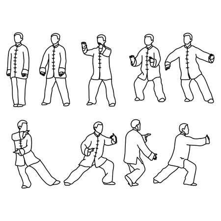 Nueve formas de Tai-chi. Los hombres visten paños chinos tradicionales ilustración vectorial boceto dibujado a mano con líneas negras, aisladas sobre fondo blanco Ilustración de vector
