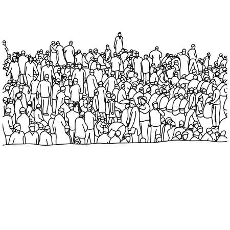 Muslim people in crowd vector illustration sketch hand drawn with black lines, isolated on white background