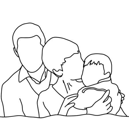 happy family vector illustration sketch hand drawn with black lines, isolated on white background