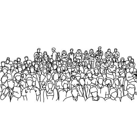 crowd people in meeting slope room vector illustration sketch hand drawn with black lines, isolated on white background