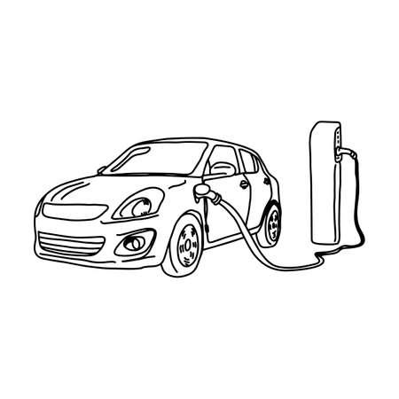 Coche eléctrico y estación de carga ilustración vectorial boceto dibujado a mano con líneas negras aisladas sobre fondo blanco.